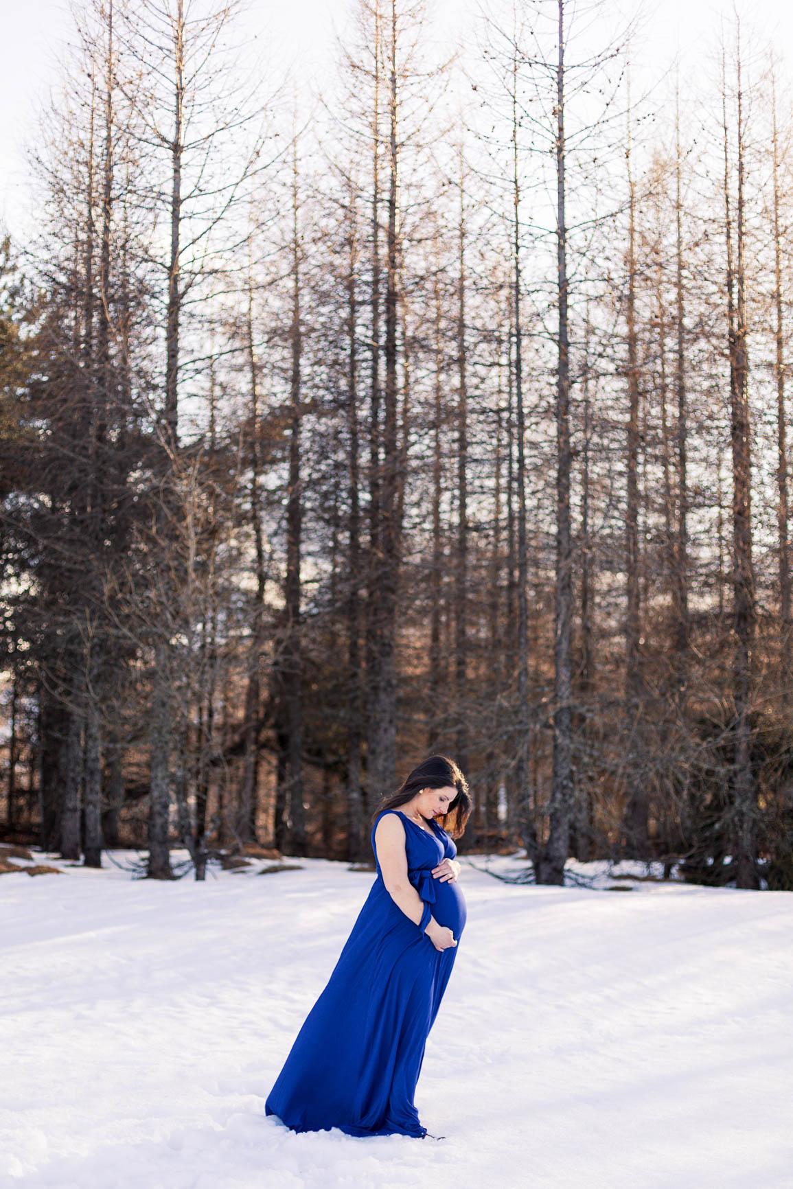 Photographe grossesse Hiver Haute-Alpes
